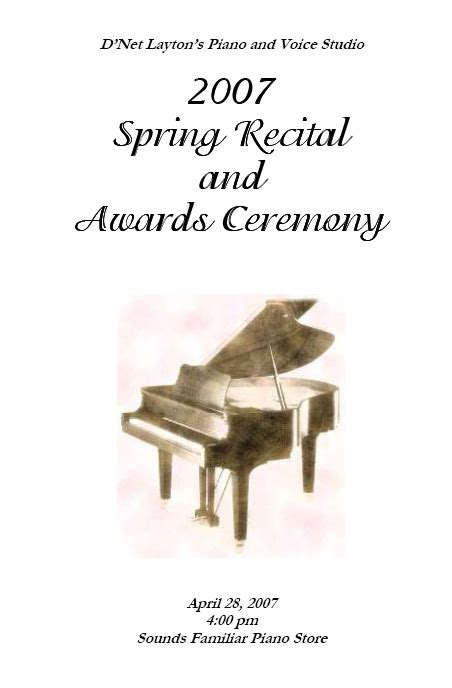 Piano Recital Program Template by Recital Program Templates Layton And Resources