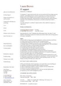 Resume Template For It by It Support Cv Sle Helpdesk Writing A Cv Resume