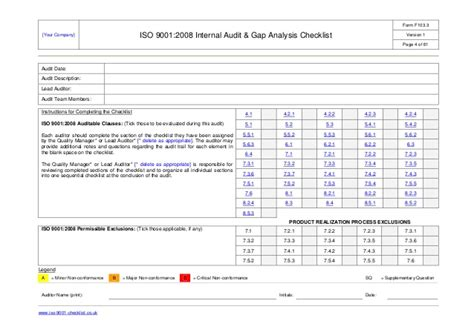 Internal Audit Checklist Exle Iso 9001 Audit Schedule Template