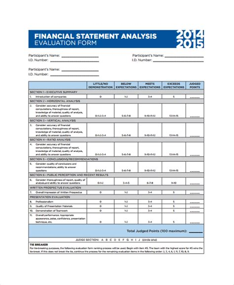 financial assessment template sle financial statement analysis 7 documents in pdf