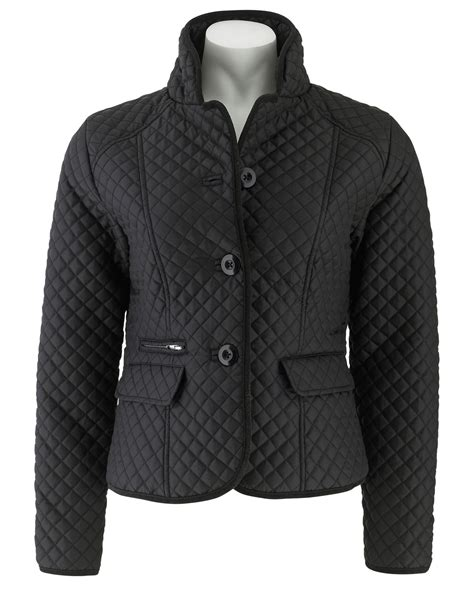 Black Womens Quilted Jacket by Savile Row S Black Womens Quilted Jacket Ebay