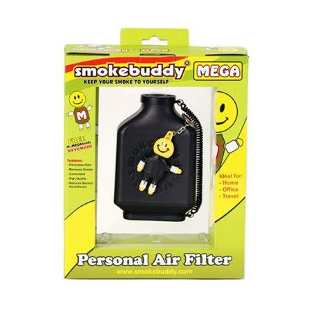smoke buddy mega personal air purifier cleaner filter removes odor black walmart