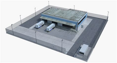warehouse layout models warehouse loaded 2 interior exterior 3d model turbosquid