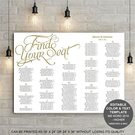 Find Your Seat Seating Chart Printable Template Wedding Seating Chart Poster Instant Find Your Seat Template