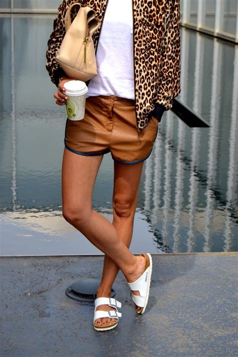 20343 Comfy Leopard White leather shorts leopard print jacket and white birkenstock sandals fashion