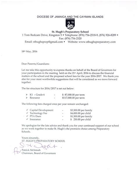 Parent Letter To School Letter To Parents School Fees 2016 17