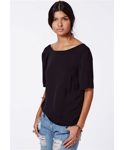 Blouse Livia Blouse Sivon lyst missguided livia backless shell top chain detail black in black