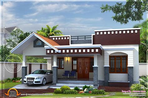 front elevation of single floor house kerala pictures with