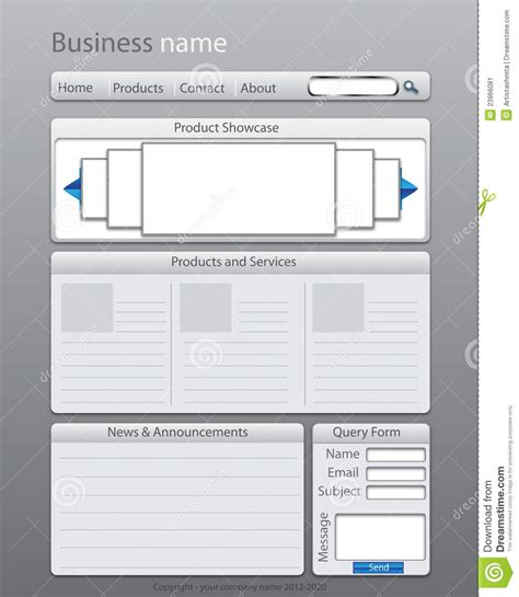 website layout templates business website layout template stock illustration