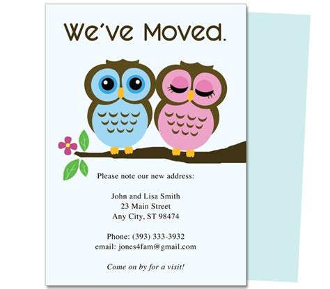 new home card template 14 best images about moving announcements new address