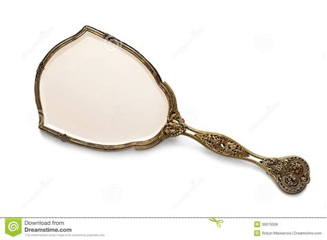 Ornate Vanity Mirror Antique Gilded Hand Mirror Over White Royalty Free Stock