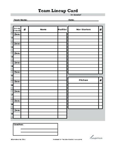 Lineup Card Umpire Template Spreadsheet by Baseball Lineup Excel Template Custom Baseball Dugout