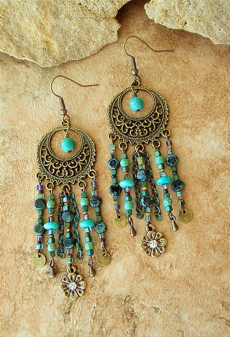 how to make bohemian jewelry boho chandelier earrings turquoise from bohostyleme boho