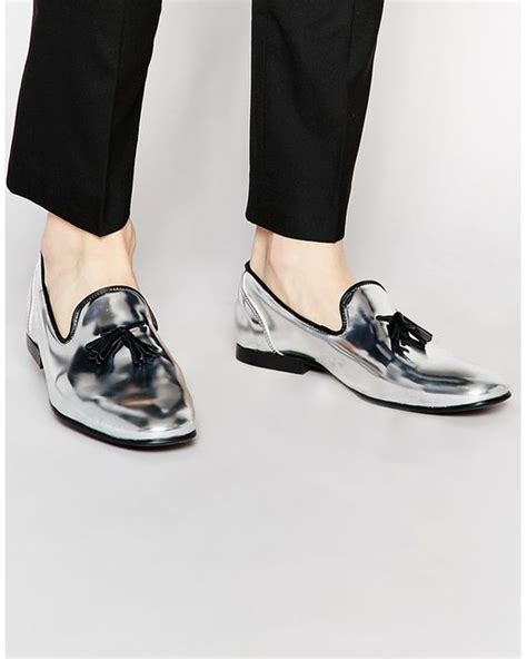 silver loafers metallic asos tassel loafers in metallic silver leather in silver