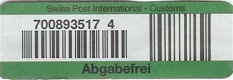 Brief Schweiz Zollinhaltserklärung Zoll Post Freigrenze Tracking Support