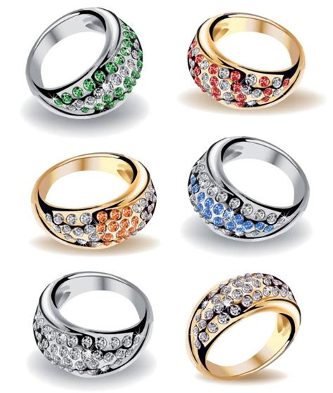4 designer precious wedding ring 03 vector material