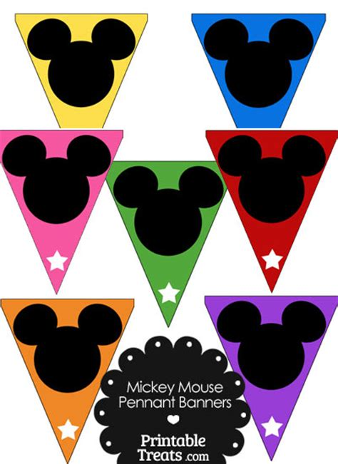 printable disney banner colorful mickey mouse head pennant banners from