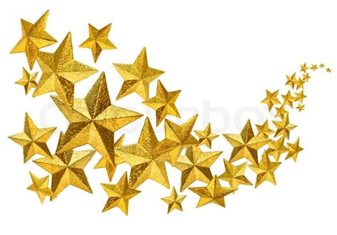 Home Decoration Online Shop by Golden Christmas Decoration Stars Flow Isolated On White