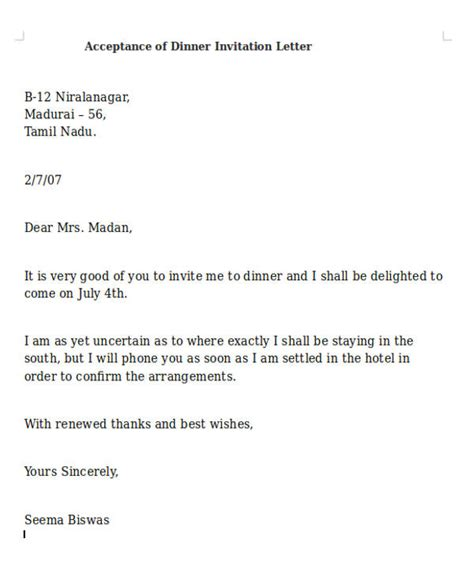Acceptance Of Invitation Letter Sle 28 Images Official