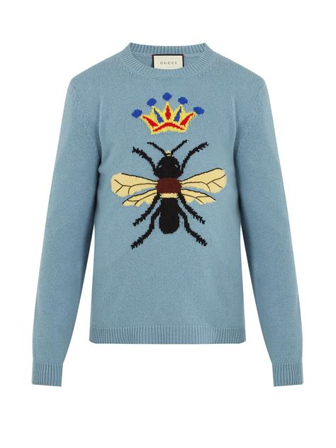 Sweater Rajut Crown Sweater Navy lyst gucci bee and crown intarsia wool sweater in blue for