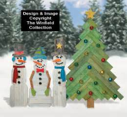 How To Make Patio Furniture Out Of Wood Pallets Snowmen Pallet Wood Snowmen And Pine Tree Pattern Set