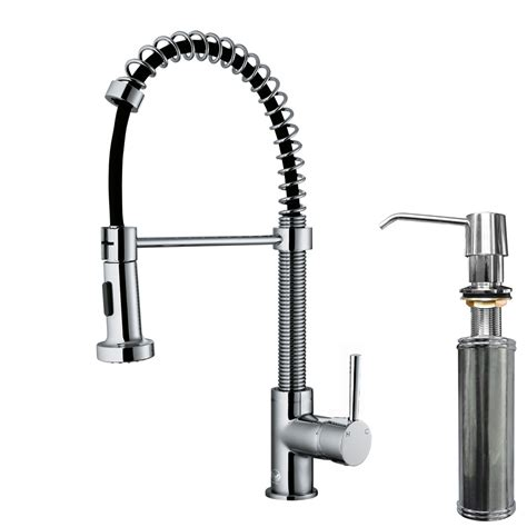 Kitchen Faucet With Sprayer Vigo Edison Single Handle Pull Spray Kitchen Faucet With Soap Dispenser Reviews Wayfair