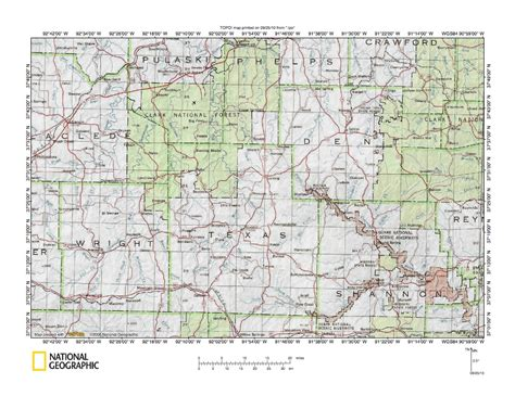 texas county missouri map gasconade river white river drainage divide area landform origins in texas county missouri usa