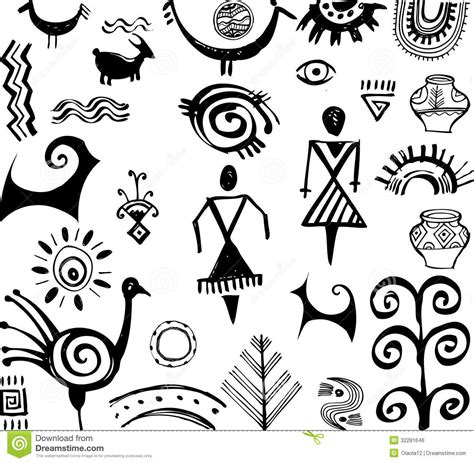 doodle drawings and their meanings insieme dei disegni primitivi immagine stock libera da