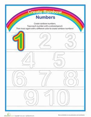 printable rainbow numbers rainbow numbers practice writing numbers 1 10 worksheet