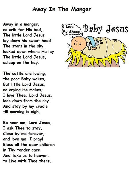 printable version of song lyrics away in the manger