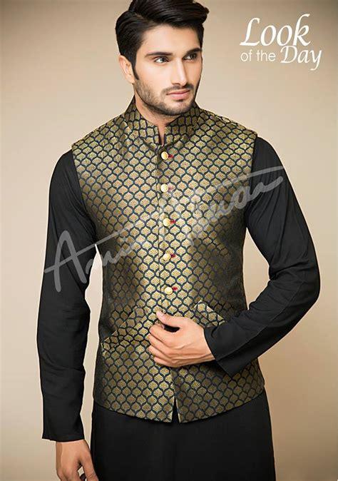 dress design gents 2015 amir adnan men ceremony kurtas waist coat collection 2018 2019