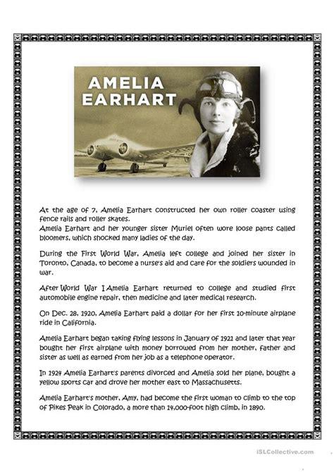amelia earhart biography in english amelia earhart worksheet free esl printable worksheets