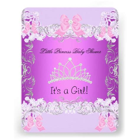 Pink And Purple Baby Shower Invitations by Princess Pink Purple Gray Baby Shower 4 25 Quot X 5 5 Quot Invitation Card Zazzle