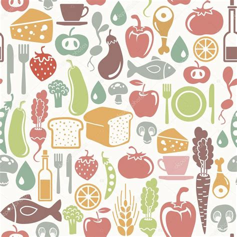 pattern illustrator food seamless pattern with food icons stock vector