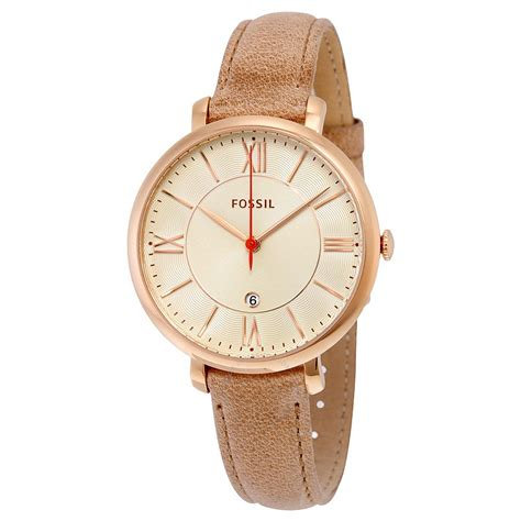 Fossil Es3802 fossil jacqueline beige stainless steel leather