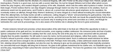The Crucible Character Analysis Essay by Character Analysis Of Proctor From Quot The Crucible Quot At Essaypedia