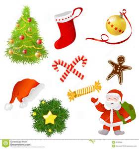 set of christmas items royalty free stock image image