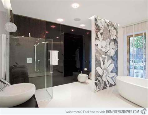 15 stunning modern bathroom designs home design lover black and white wallpaper in 15 bathrooms and powder rooms