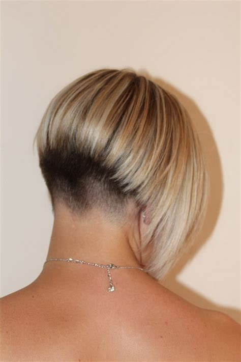 photos of the back of a haircut with a w neckline short hairstyles back view
