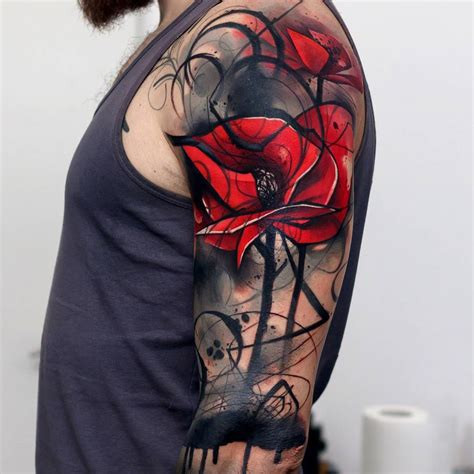 abstract poppies mens upper arm cover up best tattoo