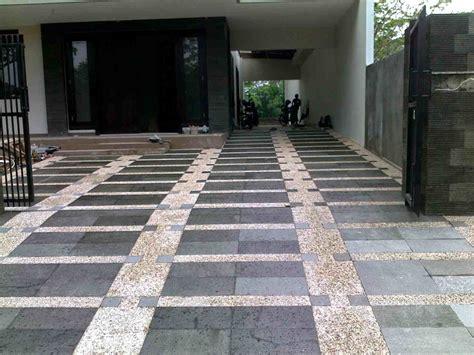 contoh foto lantai garasi batu alam eksterior rumah