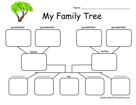 family tree template for kindergarten family worksheets teaching