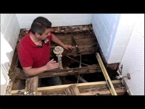 replacing a subfloor in a bathroom how to repair a bathroom floor structure youtube