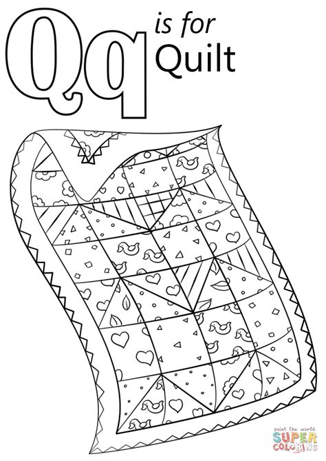 Q For Quilt Coloring Page letter q is for quilt coloring page free printable