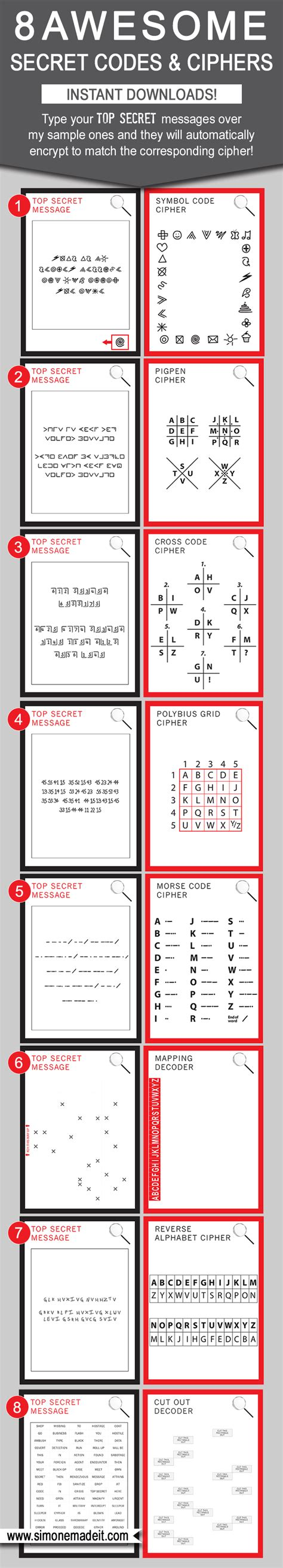 decoder card template secret codes for diy decoder cipher templates