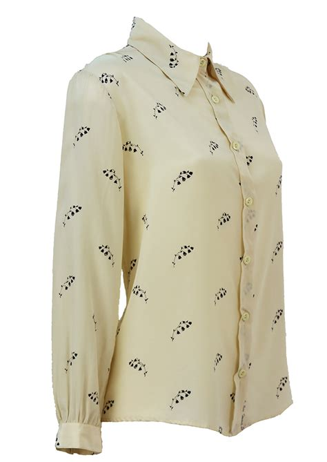 blue pattern blouse cream silk blouse with navy blue floral pattern l