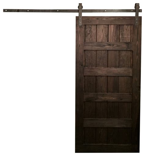 "5 Panel Design Sliding Barn Door, Rustic Gray, 34""x84"