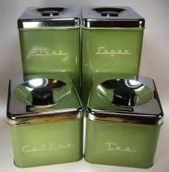 Green Kitchen Canisters Avocado Green 70 S Metal Kitchen Canister Set By Pantry
