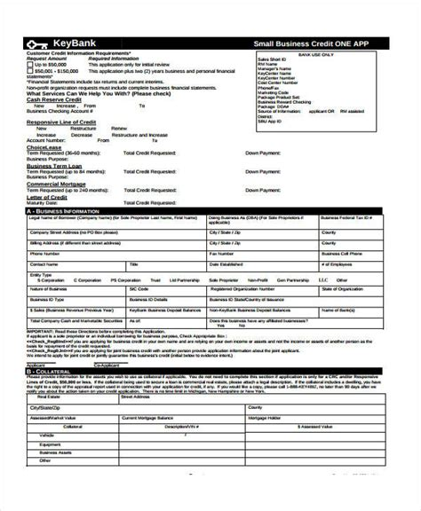 9 business credit application form free sle exle