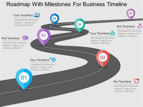 Roadmap With Milestones For Business Timeline Flat Powerpoint Design Roadmap Timeline Template Ppt